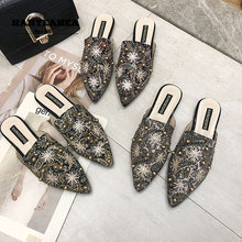 Rivet Women's Summer Shoes Classic Pointed Flat Slippers Fashionable Casual Red Blue Beige Rivet Women's Summer Shoes