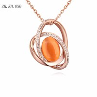 ZK KH ONG 2017 Retro Personality Jewelry Opal Necklace Luxury Gold Color Round Pendant Necklace Embed