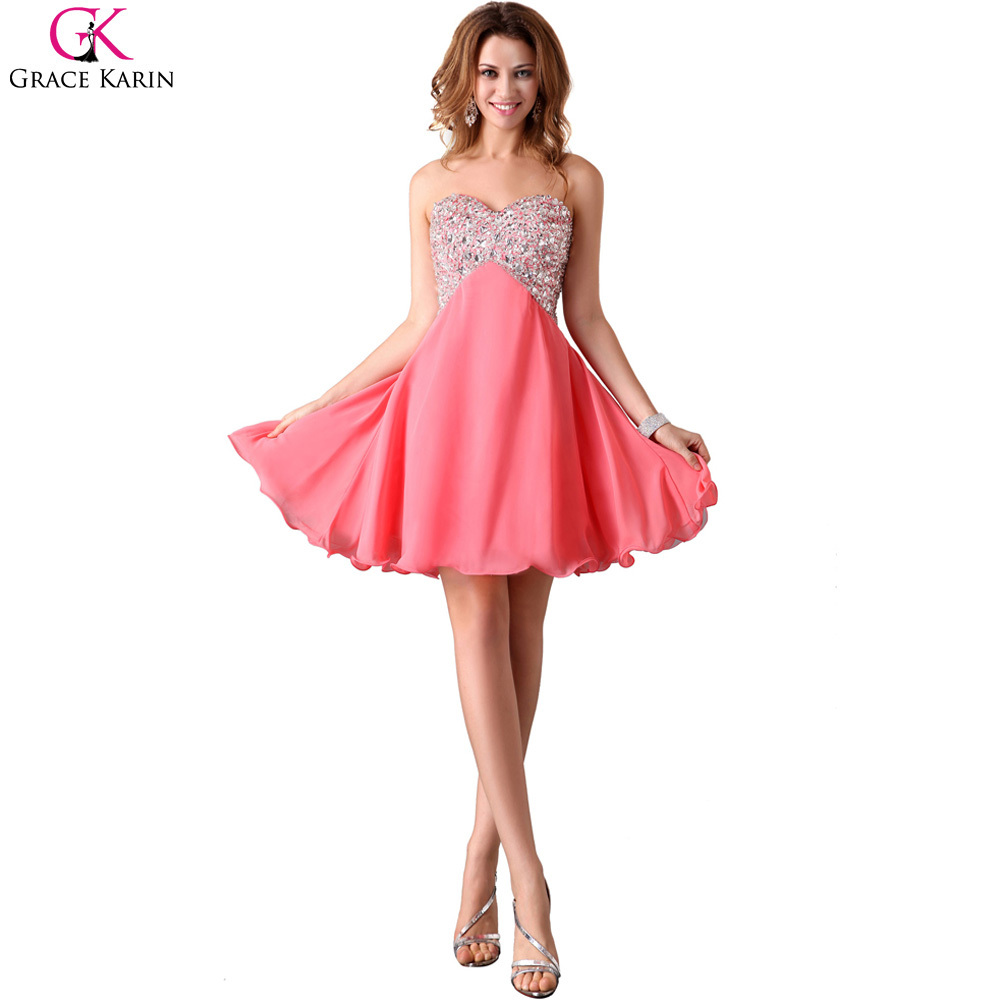 Short Cocktail Dress Grace Karin Black White Pink Formal Party Dresses  Above Knee Length Chiffon Strapless With Sequin Bead 3140-in Cocktail  Dresses from ... 5428e8022