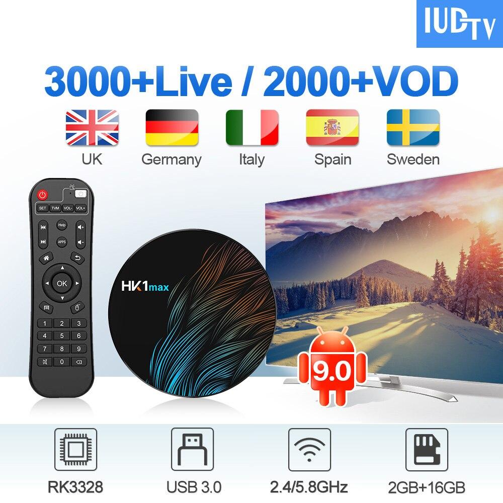 IUDTV IPTV Sweden Germany UK Italia Spain IP TV Subscription HK1 MAX Android 9.0 2G+16G USB3.0 Greece Box