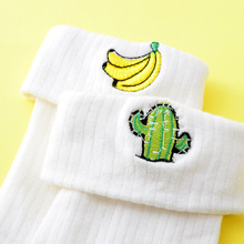 White color Embroidery Heart Cheery Egg Printed Women Ladies Girl Cotton Funny Socks Art Socks Chaussette Femme size 35-39
