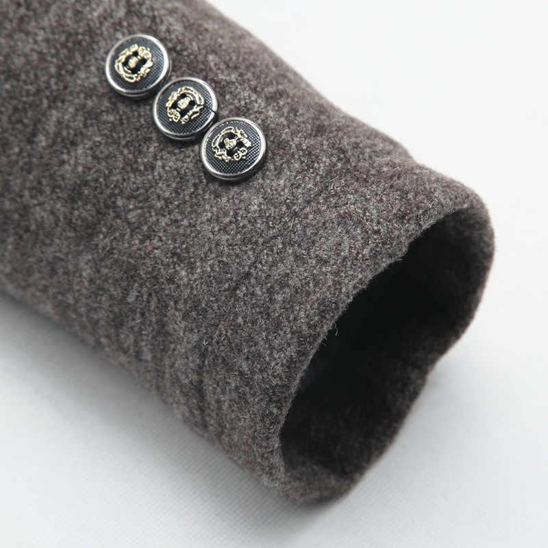 2019 зимние для мужчин's повседневное Шерсть Тренч Модные Бизнес Длинные утепленные тонкий пальто куртка мужской Peacoat брендовая одежда 1717