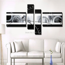 Hand Painted 4 Piece Canvas Wall Art black and white Oil Painting Modern Abstract Picture Home Decor Set