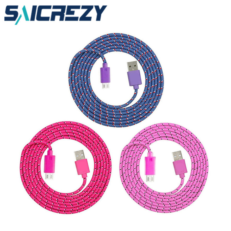 Short/2M/3M Braid Nylon micro USB Data Charger Cable for Samsung Galaxy s3/s4/j1/j2/j3/j5/a3 a5 a7 2016 8 pin for iphone 5 6 7 8