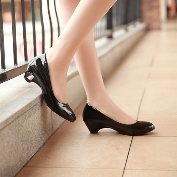 Big Size 34 43 Classic Sexy Office ladies Round toe Low Med Kitten ...