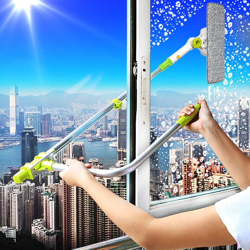 New Window Cleaner Wiping Device Scraping Artifact Brush Glass Single Side Telescopic Tool Window Glass Cleaning Machine цена