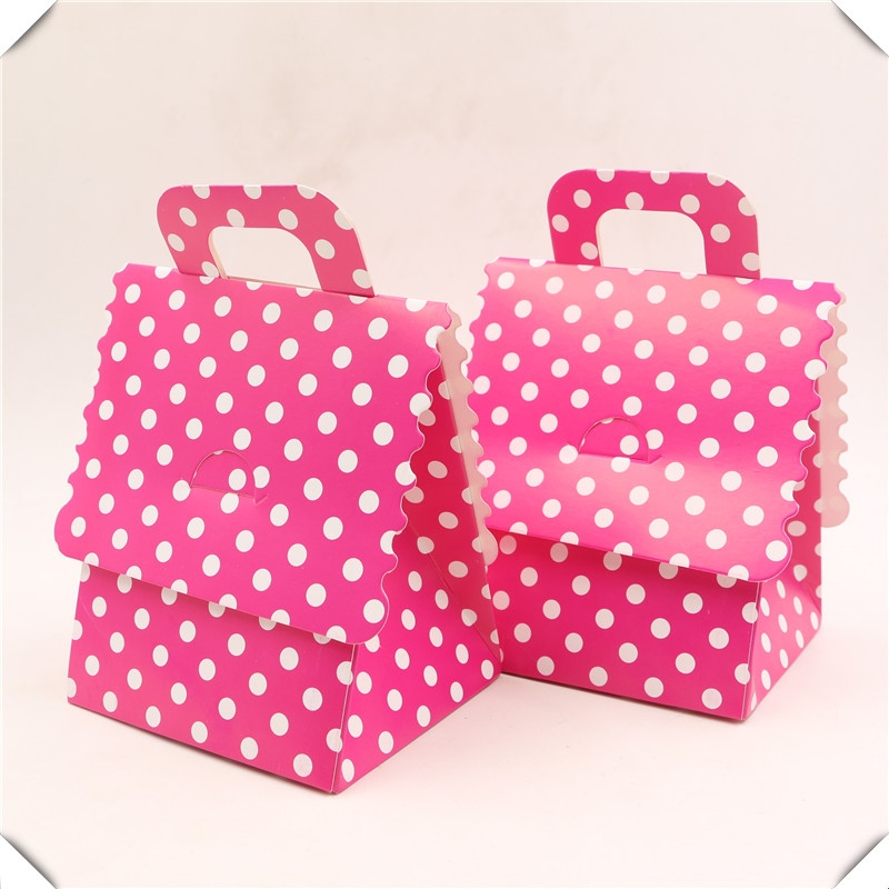 PINK DOTS BABY SHOWER FAVOR BOXES GIRL POLKA DOT PARTY DECORATIONS BOX BUTTERFLY