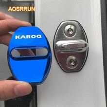 AOSRRUN In acciaio inox serratura della porta di protezione della copertura della copertura della serratura di posizionatore accessori PER Auto copertura PER Skoda Karoq