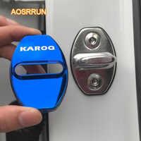 Aosrrun aço inoxidável fechadura da porta guarda capa de bloqueio de positioner capa acessórios do carro para skoda kodiaq karoq