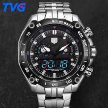 TVG Men's Fashion Men Sports Watches Quartz Digital Watch Men LED Clock Army Military Waterproof Wristwatch Relogio Masculino