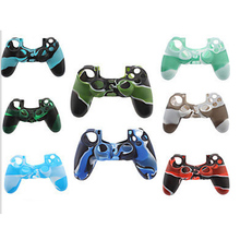 TENZERO Case Camouflage 100% Silicone Anti-Slip High Quality Protective Skin Case Green Style Joystick Case For PS4 Controller