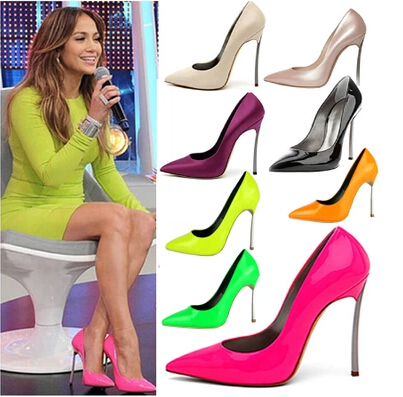 f75bf5ae657e New 2014 Plus Size 35 42 10 11 Genuine Leather Elegant Neon Pink Green Thin  Heel Ladies High Heels Party Pumps Shoes for Women-in Women s Pumps from  Shoes ...