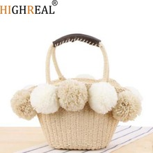2019 Black Red Ball Decoration Straw Bag Women Summer Beach Bag Dishes Basket Travel Picnic Handbag Female