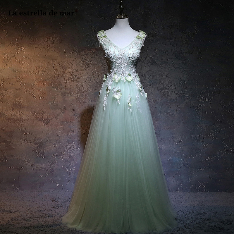 Sukienka wesele new tulle beaded tassel sexy V neck A Line mint green   bridesmaid     dress   long vestido madrinha custom