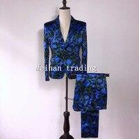 Модная Корейская версия Для Мужчин's Костюмы комплект синий зебры печатных Мужской Блейзер скинни Мотобрюки костюм производительность печ