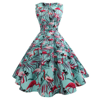 Sisjuly Vintage Dress 1950s Women Plant Print Dress Round Neck Expansion Summer Dress Light Blue Lady