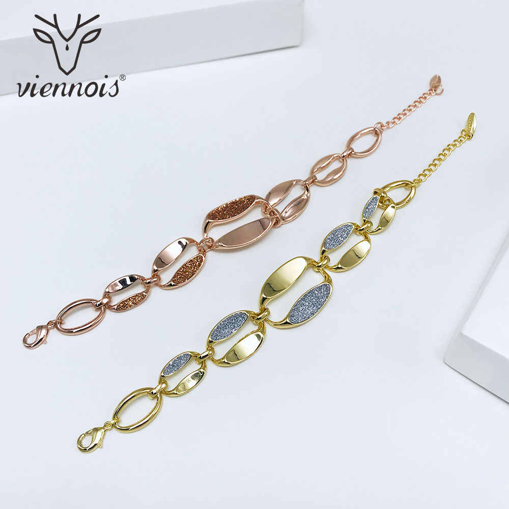 Viennois Bracelet & Bangles For Women Rose Gold/ Gold Color Chain Bracelet Shining Polishing Wedding Jewelry