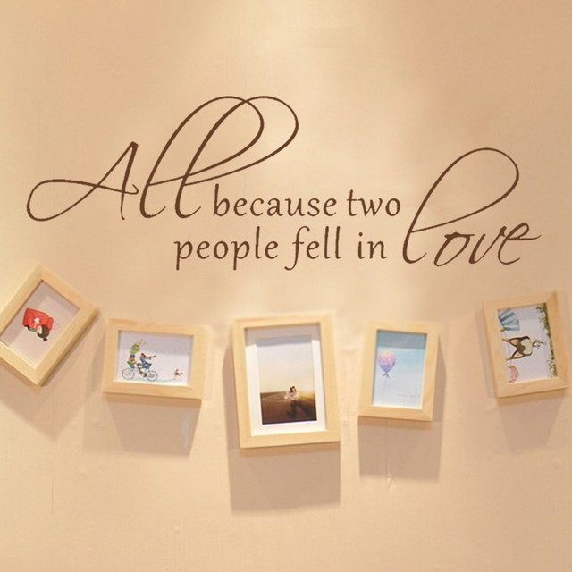 All Because Two People Fell in Love wedding decal Wall Decal Love ...