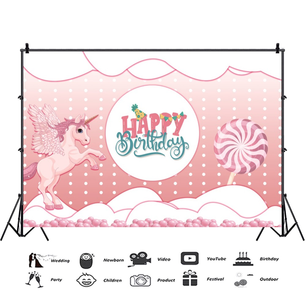 Laeacco Baby Children Cartoon Scene Flying Unicorn Happy Birthday Photographic Background Photography Backdrops For Photo Studio in Background from Consumer Electronics