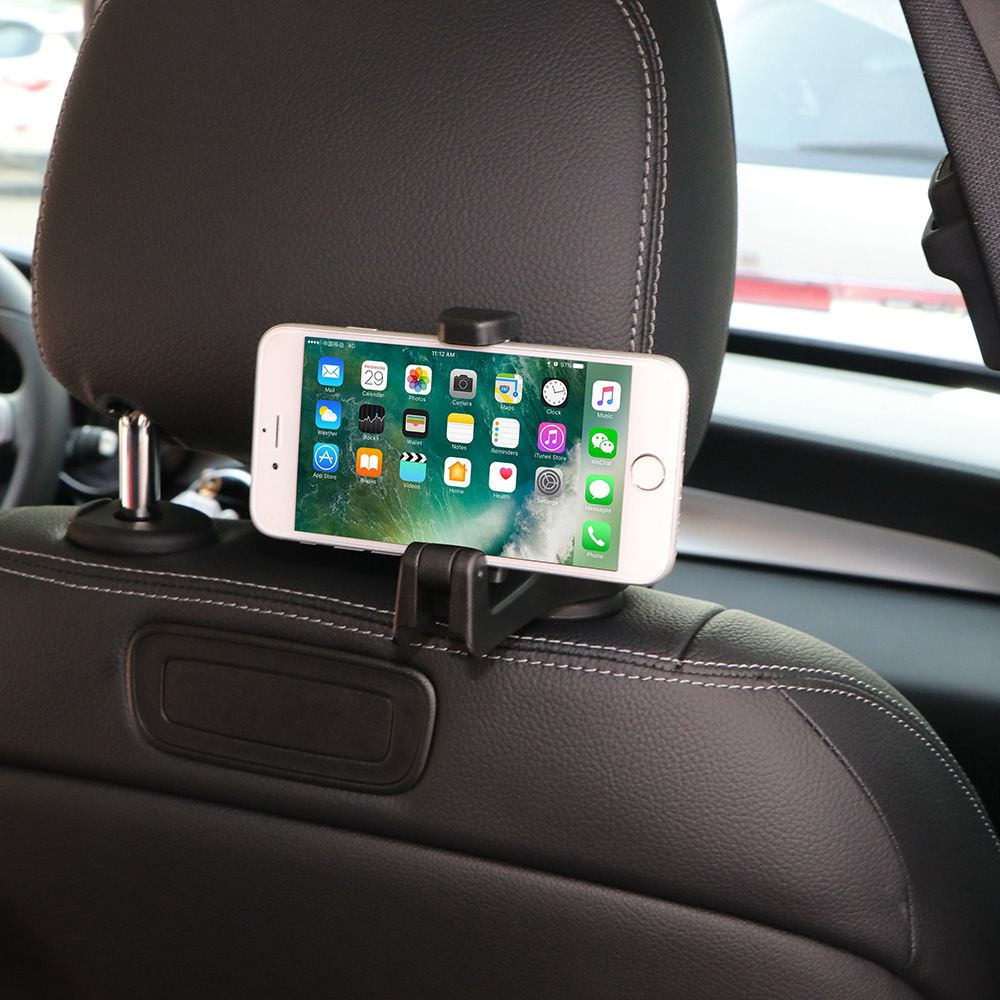 2 in 1 Auto Car Back Seat Phone Holder Stand Headrest Hanger Hooks Clips for Bag Purse Cloth Grocery Automobile Interior Acces