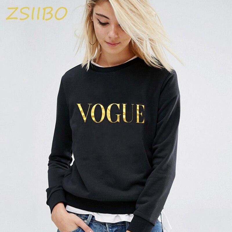 Otoño Invierno nueva moda VOGUE impresión color sólido Hoodies mujeres cuello redondo suéter Sudadera Mujer chándal talla grande ropa