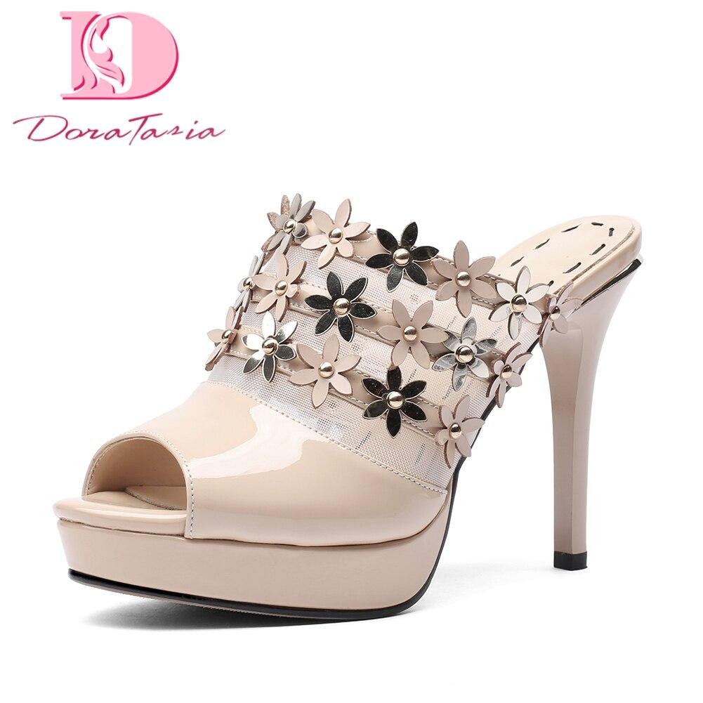 DoraTasia Brand genuine leather platform Summer Mules Pumps Shoes Woman  Peep thin High Heels Party Women 40618768d605