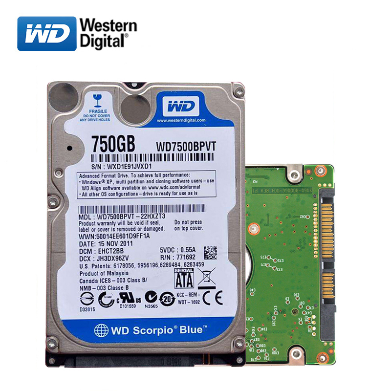 WD Brand 2.5 750GB SATA2 SATA3 Laptop PC Notebook Internal hdd hard disk drive 2mb/16mb 750G 5400RPM 7200RPM 160MB/s disco duro