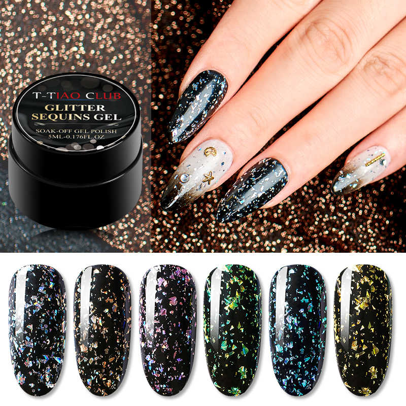 T-TIAO CLUB Feuerwerk UV Nagel Gel Lack Sparkly Glitter Led Nagel Gel Emaille DIY Nagel Stil Bunte Pailletten UV Gel polnisch