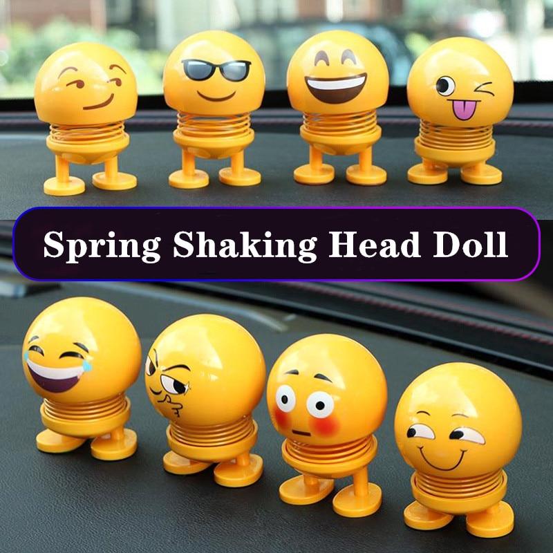 Car Interior Dashboard Decoration Creative Toys Cute Cartoon Funny Emoji Shaking Head Toys Car Ornament Smilely Car Accessories