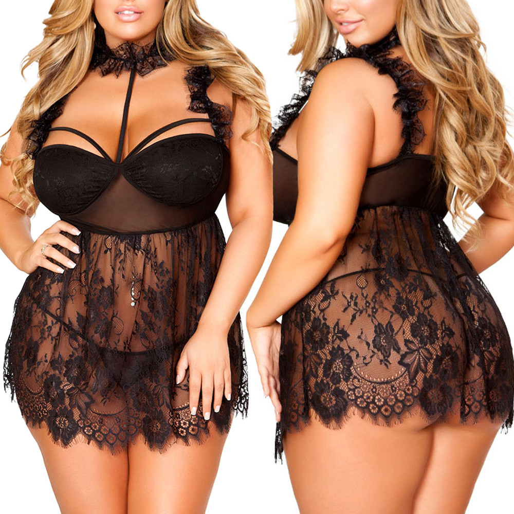 Women Sleepwear Plus Size Eyelash Lace Ruffled Lace Mesh High Neck Babydoll Sexy Lingerie Sexy Lady Nightwear Erotic Dress