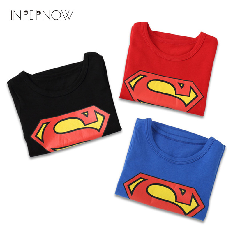 INPEPNOW Boys Tops 2018 Kid T Shirts Superman T Shirt clothes O-neck Short Sleeve T-shirts For Girl Couples Cotton Tees DX-CZX70 mens casual 3d personality skull printing short sleeve t shirt cotton sport black tees