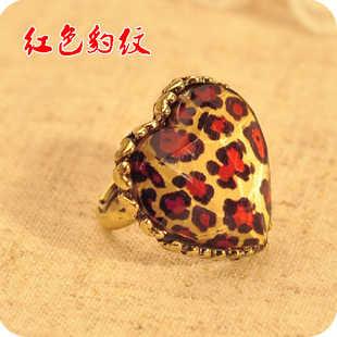 R137 Nova Moda de Jóias por atacado Amor Pêssego Leopardo Pena De Pavão Do Vintage Anel, anéis de moda