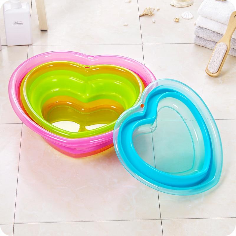 Baby Bath Heart-Shaped PP Material Baby Folding Bath Childrens Bath Tub Baby Washbasin Childrens Newborn Bathing Supplies Pool