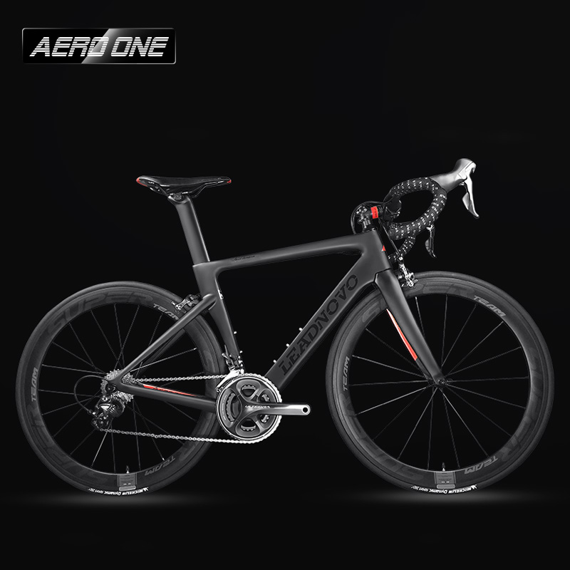 Leadnovo Complete Full Carbon Fiber Road Bike Racing Cycling,T800 Carbono Fibre Frameset,Black-Red Color,3D three-dimensional