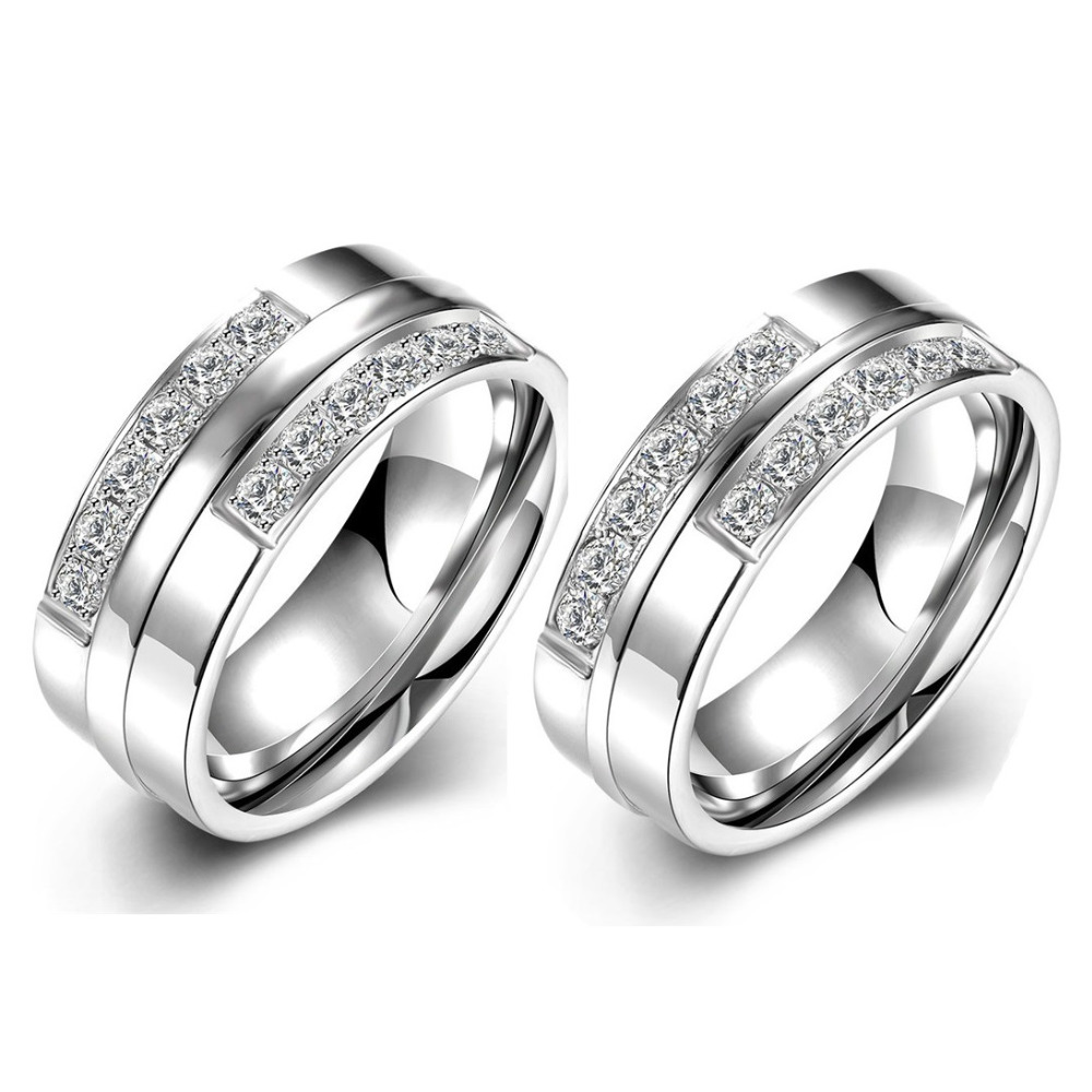 Aliexpress : Buy Couple Wedding Rings Set White Gold Plate Cz Diamond Engagement  Rings For Couples Wedding Bands Stainless Steel Jewelry From Reliable