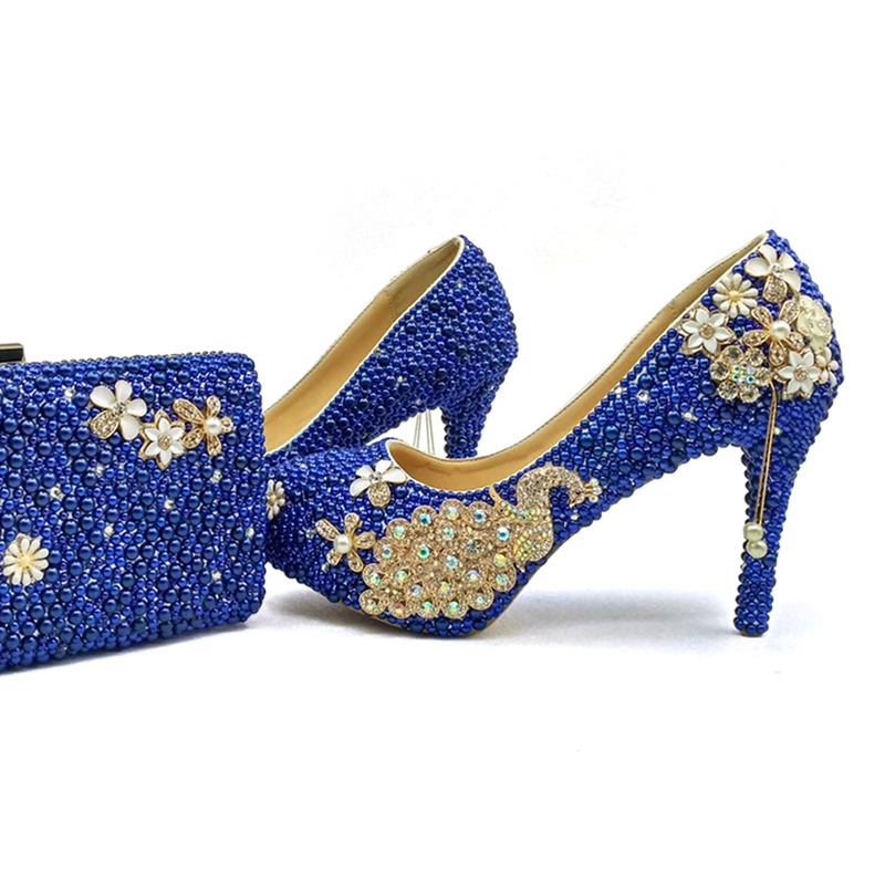 2017 Royal Blue Pearl Bridal Shoes with Matching font b Bag b font Gorgeous Design Peacock
