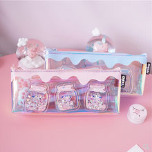 Cute Laser Milk Bottle Pencil Case Iridescent Laser Cute Transparent Pattern School Supplies Stationery Christmas Gift for Kids(China)