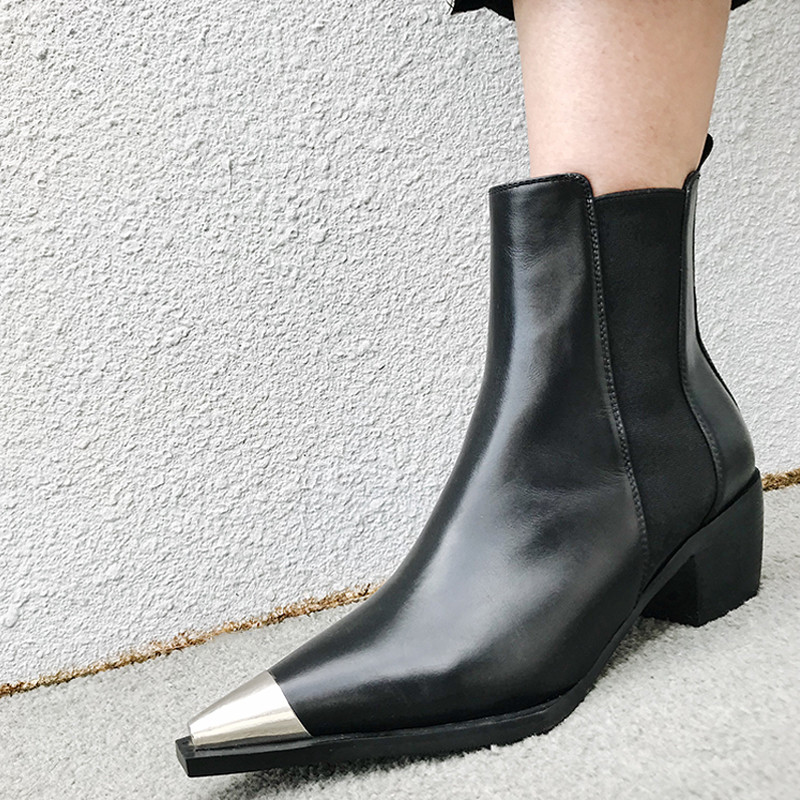 Jady Damen Chunky Chelsea Heel Runway Rose Schuhe Knöchel Schwarzes Boot Echtem Leder 2019 weiß Frauen High Stiefel Spitz Für Metall wSwrRZAq