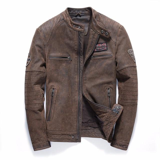 638da20a2a6 2019 Vintage Brown Men s Biker Leather Jacket Plus Size 4XL Genuine Thick  Cowhide Slim Fit Winter