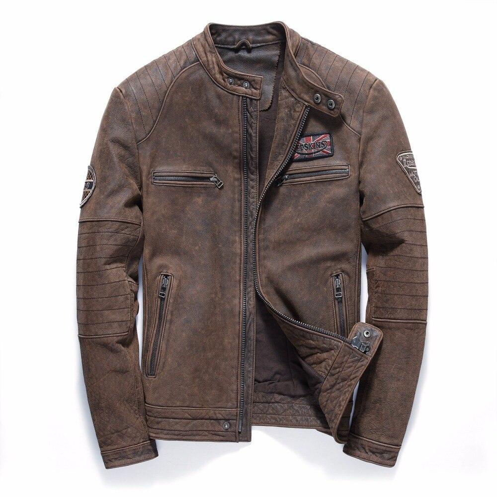 2019 Vintage marron hommes Biker en cuir veste grande taille 4XL véritable peau de vache épaisse Slim Fit hiver moto manteau livraison gratuite
