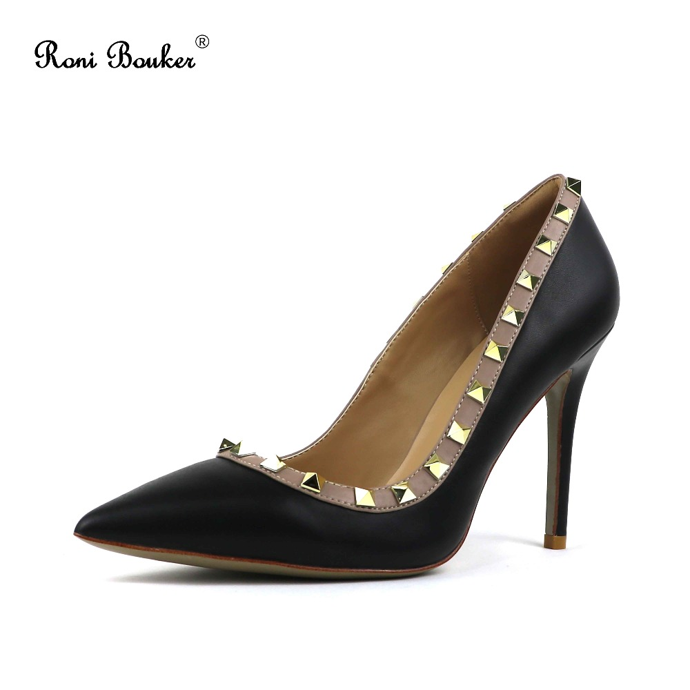 Women high heels hot on sale lady handmade real leather shoes Rivet pointed toe pumps size 35-42 with box free shipping free shipping hot sale suede leather women pumps 2018 female sexy pointed toe thin high heels shoes size 35 42 handmade footwear