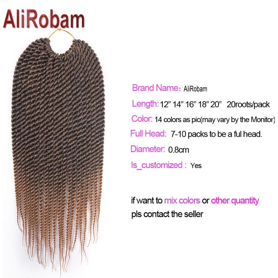 AliRobam 22Roots 12 16 20 Inch Crochet Hair Ombre Kanekalon Braiding Hair Crochet Braids Hair Extensions Box Braids Hair
