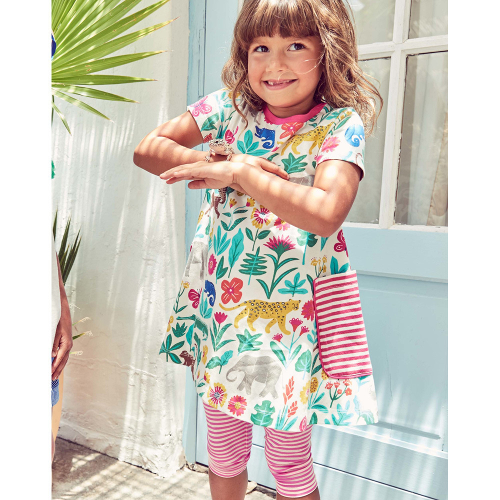 Nnilly 2018 Summer Favourite Recommend Dress Pattern Printing Pure Cotton Short Girls Beautiful Dress Child Dresses
