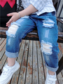New 2017 Girls Boys Jeans 2-7Yrs Children Broken Hole  Pants Fashion Baby Girl Clothes High Quality Kids Trousers