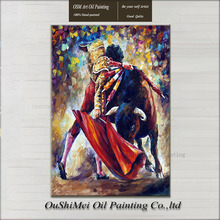100%Hand-painted Modern Original Oil Oainting on Canvas Matador and Strong Bull Cow Fighting Colorful Knife Art Paintings