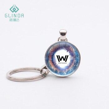 Glinda 13 style westworld keychain handmade glass art pendant key chains key rings silver plated westworld.jpg 350x350