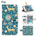 Batianda Printed Case For Apple iphone 6 6s Cute Deer Cat Bird Pattern Wallet Cover Stand PU Leather Case With Card Holders