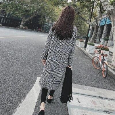Laine Manteau Mode Vestes Femmes Hiver Longue Section 1 Vintage Nouveau Blazers Femelle De Plaid 2 nqFRw1zx8