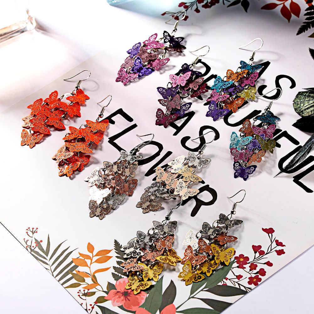 9 คริสตัลผีเสื้อต่างหู Dangle DROP ดอกไม้ DRAGONFLY Dangle ต่างหูงานแต่งงานเจ้าสาวเครื่องประดับสำหรับหญิงสาวต่างหู
