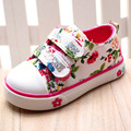 Novas crianças Chegada sapatos sapatos meninas moda floral imprimir respirável sapatas de lona sapatilhas ocasionais novas sapatas dos miúdos para a menina